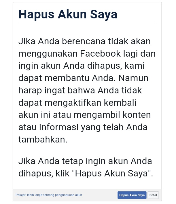 Cara Menghapus Akun Facebook Sendiri Secara Permanen Damarpethitmuawi
